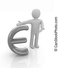 3d people - man, person presenting - euro sign