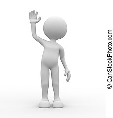 Hello - 3d people - man, person salute. Hello
