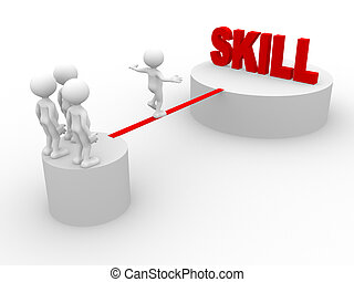 Skill - 3d people - man, person walking on the wire. Skill
