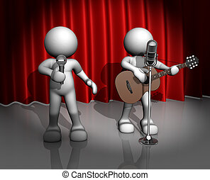 Band - 3d people - man, person with a acoustic guitar. ...
