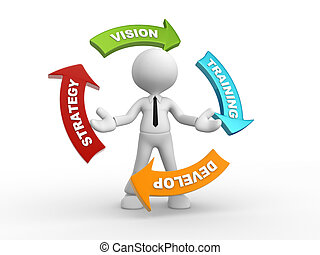 3d people - man, person with a arrow. Strategy, develop, vision, training