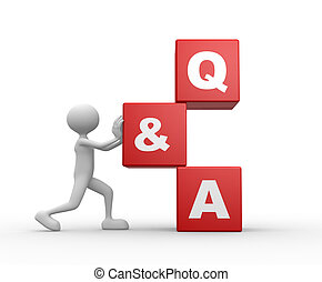 Question and answer - Q&A - 3d people - man, person with a...