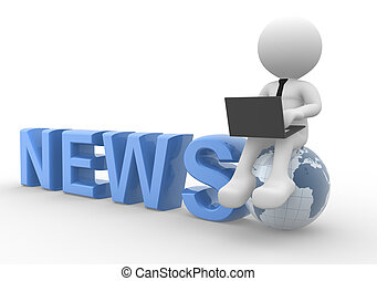 News concept - 3d people - man, person with a laptop and...