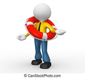 Businessman - 3d people - man, person with a life buoy....