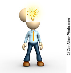 3d people - man, person with a light bulb. Intelligent
