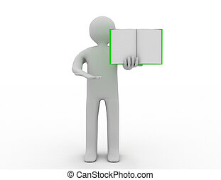3d people - man, person with a open book.