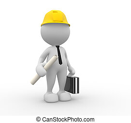 Engineer - 3d people - man, person with a project. Engineer