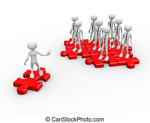 3d people - man, person with a puzzle ( jigsaw). Join team