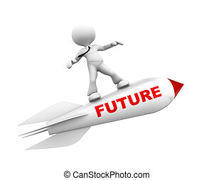 Future concept - 3d people - man, person with a rocket. ...