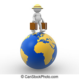 World Travel - 3d people - man, person with a suitcase. ...
