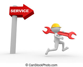 Arrow and the word service. - 3d people - man, person with a...