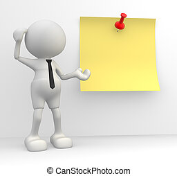 3d people - man, person with a yellow paper and trumbtack. The concept of message. Remember