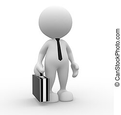 Businessman - 3d people - man, person with briefcase and tie...