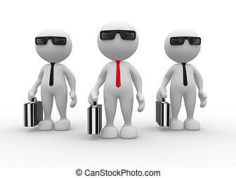 Businessman - 3d people - man, person with briefcase and...