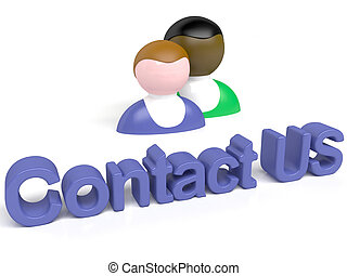 """3d people - man, person with button """" Contact us"""""""