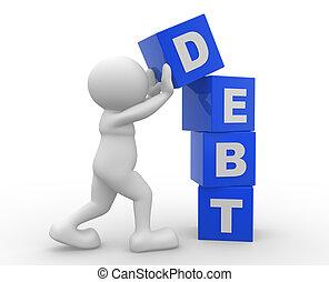 Debt - 3d people - man, person with cubes. Debt concept.