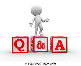 Question and answer - 3d people - man, person with cubes. ...