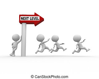 Next level - 3d people - man, person with directional sign...