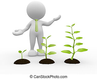 Seedling - 3d people - man, person with earth and plant....