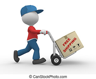 3d people - man, person with hand truck and packages. Postman. Free shipping