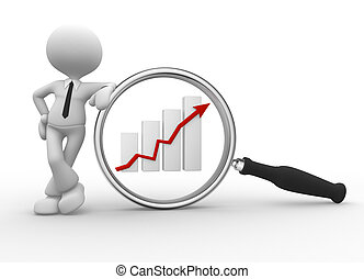 3d people - man, person with magnifying glass and graphic chart. Businessman