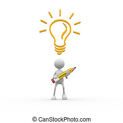 Idea concept - 3d people - man, person with pencil and light...