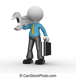 Businessman - 3d people - man, person with toolbox and a...