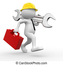 Engineer - 3d people - man, person with toolbox and wrench. ...