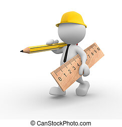 Builder - 3d people - man, person with wooden pencil and...