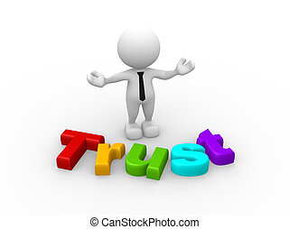 Trust - 3d people - man, person with word Trust