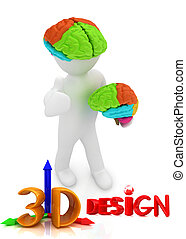 3d people - man with a brain