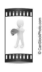 3d people - man with a brain. The film strip