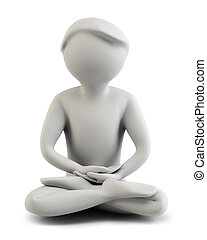 3d people - meditation - 3d the person meditating. 3d image...