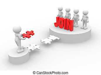 "word ""Join"" - 3d people - men, person and word ""Join"""