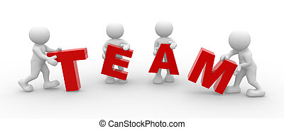 """Team - 3d people - men, person and word """"Team"""""""