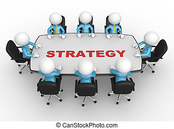 Business strategy - 3d people - men, person at conference...