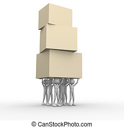 3d people - men, person carrying boxes together. Cooperation