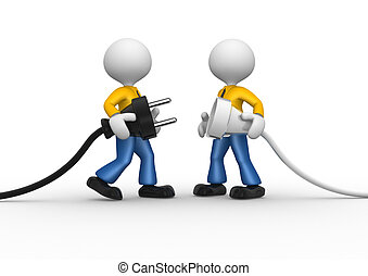 Electric plug - 3d people - men, person connecting a cable. ...