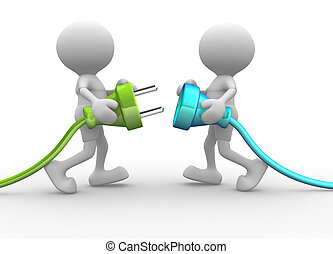 3d people - men, person connecting a cable. Electric plug