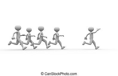 Jogging - 3d people - men, person running. Jogging