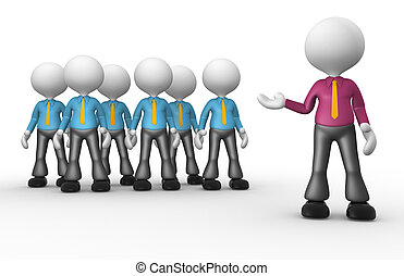 Businessmen - 3d people - men, person showing his business...