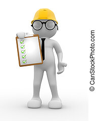 Engineer - 3d people - men , person with a clipboard. ...