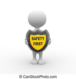 Safety first - 3d people - men, person with a shield and...