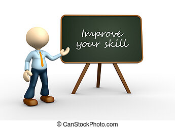 Improve your skill - 3d people - men, person with blackboard...