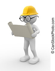 Engineer - 3d people - men , person with project. Engineer