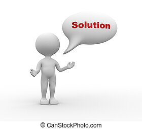 3d people - men, person with speech bubble and word Solution