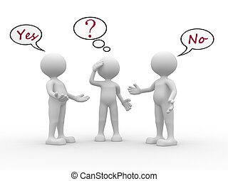 Confused - 3d people - men, person with speech bubbles and ...