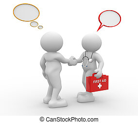 3d people - men, person with stethoscope and frist aid. Doctor and patient