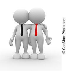Friends - 3d people - men, person with tie. Friends