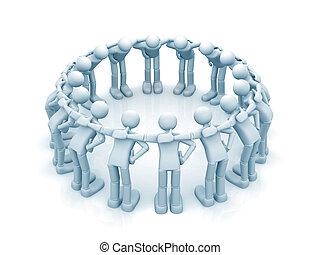 3d people - men, Teamwork concept